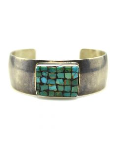 Frank Patania Sr. (1899-1964) - Thunderbird Shop - Turquoise Mosaic Inlay and Sterling Silver Bracelet c. 1960s, size 6.5 (J91963-0520-004)