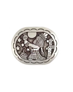 """Floyd Becenti Jr. and Lloyd Becenti - Navajo Sterling Silver Overlay Belt Buckle with Kachina Pictorial c. 1980-90s, 2.25"""" x 3"""" (J91305C-0521-010)"""