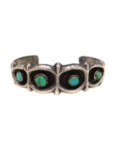 Navajo Turquoise and Silver Sandcast Bracelet c. 1940-50s, size 6.25 (J91305C-0521-013)