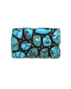 """Orville Tsinnie (1943-2017) - Navajo Morenci Turquoise Cluster and Sterling Silver Belt Buckle c. 1970s, 2.5"""" x 4"""" (J91963-0621-001)"""