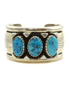 Orville Tsinnie (1943-2017) - Navajo Turquoise and Sterling Silver Bracelet c. 1990s, size 6.75