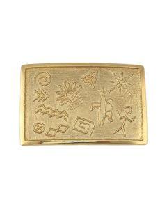 "Harvey Austin Begay (1938-2009) - Navajo Contemporary 14K Gold Tufacast Belt Buckle with Native American Motifs, 1.5"" x 2.25"" (J91963-0921-001)"