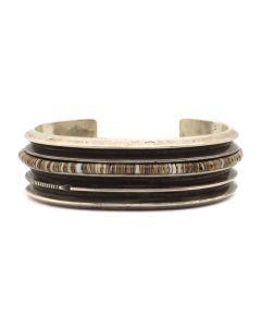 Norbert Peshlakai (b. 1953) - Navajo Silver Bracelet with Heishi Inclusions c. 1980s, size 6.25 (J91963-1020-003)