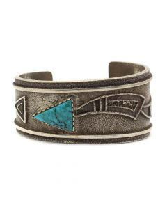Roy Talahaftewa - Hopi Turquoise and Sterling Silver Sandcast Bracelet c. 1990-2000s, size 6.25 (J91963-1020-004)