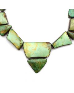 """Sharon Sandoval - San Felipe Royston Turquoise and Silver Necklace c. 2013, 18"""" length"""