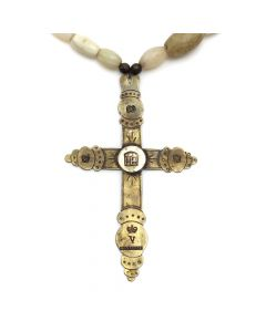 "Hudson Bay Trade Beads with Brass Cross Pendant, 24"" length (J91973C-0220-002)"