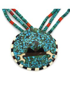 """Santo Domingo 3-Strand Beaded Turquoise, Coral, and Silver Necklace with Multi-Stone Inlay Shell Pendant c. 1960-70s, 3.25"""" x 3.75"""" (J91983C-1220-001)"""