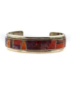 Henry Sam - Contemporary Navajo Spiny Oyster Inlay and Silver Bracelet, size 7 (J92095-0120-002)