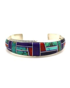 Pete Sanchez - Isleta Contemporary Multi-Stone Channel Inlay and Sterling Silver Bracelet, size 6.5 (J92234-0421-005)