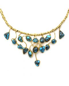 "Sam Patania - Candelaria Turquoise and 18k Gold Necklace, 19"" length (J92239-0820-001)"