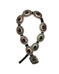 """Maggie Bitsue - Navajo Silver and Leather Concho Belt c. 1930-40s, 26"""" x 29"""" waist (J92243-0421-013)"""