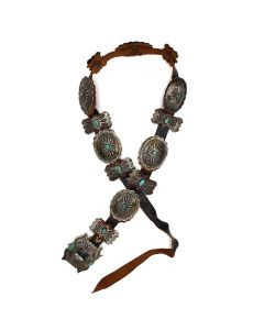 """Leon Dickie and Marry Watson - Navajo Turquoise, Silver, and Leather Concho Belt c. 1960-70s, 35"""" to 37"""" waist (J92243-0421-016)"""