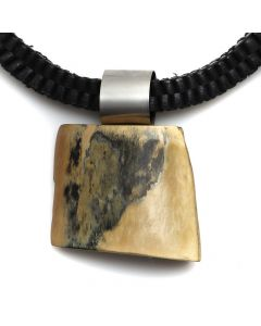 Shirley Wagner - Wooly Mammoth Ivory Shard on Stainless Bale with Squared Leather Cord (J92312A-0520-013)
