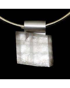 "Shirley Wagner – Icepar (Optical Calcite) with Checkerboard Inclusions and Hand Forged Stainless Bale on 18"" Stainless Steel Snake Chain with Magnetic Clasp, 2.25"" x 1.5"" x 0.75"" (J92312A-0720-004)"