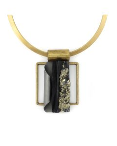 """Shirley Wagner – Natural Slate Embedded with Pyrite Pendant, Forged Zinc, and Brass with Gold Tone Collar, 3"""" x 2"""" pendant (J92312A-0821-004)1"""