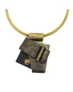 """Binary file Shirley Wagner – Forged Anodized Aluminum with Distressed Zinc Pendant, Brass Findings, and Brass """"C"""" Neck Wire, 3.125"""" x 2.5"""" pendant (J92312A-0821-005)1"""