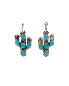 """Navajo Turquoise and Silver Saguaro Post Earrings c. 1960s, 2.25"""" x 1.25"""" (J92323A-0821-002)"""