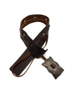 """Navajo Silver and Leather Belt c. 1930-50s, 53.5"""" x 55.5"""" waist (J92323A-1020-016)"""