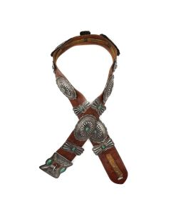 """Navajo Turquoise, Silver, and Leather Concho Belt c. 1940s, 28""""-32"""" waist (J92336-0821-011)"""