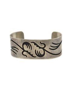 Hopi Silver Overlay Bracelet c. 1960s, size 6.75 (J92336-0821-015)