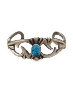 Navajo Turquoise and Silver Sandcast Bracelet c. 1950s, size 6.25 (J92336-0821-023)