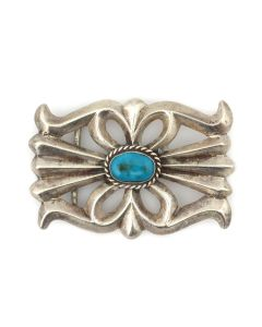 """Navajo Turquoise and Silver Sandcast Belt Buckle c. 1950s, 2"""" x 3"""" (J92336-0821-024)"""