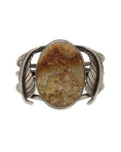 Navajo Crazy Lace Agate and Silver Bracelet with Leaf Design c. 1960s, size 6.75 (J92336-0821-025)