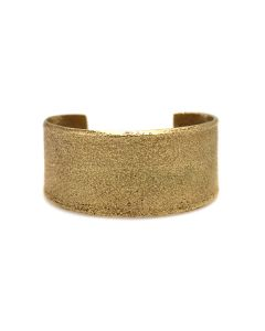 Charles Loloma (1921-1991) - Hopi Contemporary Yellow Gold Tufacast Bracelet with Hand, size 6.5 (J92348A-0621-005)