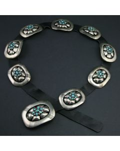 SOLD Frank Patania, Sr. - Sterling Silver, Turquoise and Leather Belt