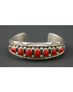 SOLD Stanley Carroll - Navajo Coral and Sterling Silver Bracelet