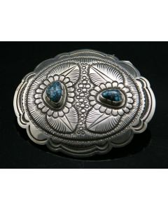 SOLD Patrick Taylor - Navajo Silver and Two Stone Lander Blue Turquoise Belt Buckle