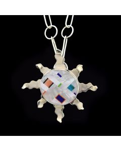 """Rodney Coriz - Santo Domingo Sterling Silver and Multi-Stone Inlay Pendant with Handmade Sterling Silver Chain - 30"""""""