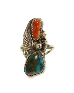 Navajo Turquoise, Coral, and Silver Ring c. 1960s, size 8.5