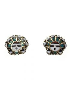 Zuni Multi-Stone Inlay and Silver Post Earrings c.