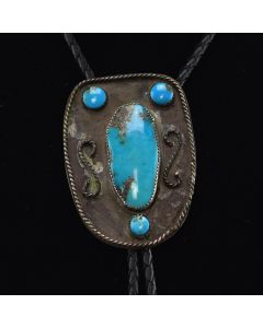 "Navajo Turquoise and Silver Overlay Bolo Tie c. 1950s, 2.75"" x 1.875"""