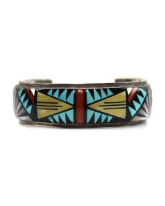 Donald Eriacho - Zuni Multi-Stone Inlay and Silver Bracelet c. 1980s, size 6.5
