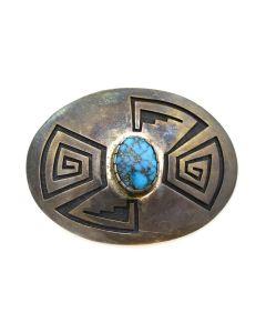 "Phil Poseyesva - Hopi Turquoise and Sivler Overlay Belt Buckle c. 1970s, 1.625"" x 2.25"""
