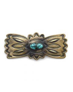"""Harry Morgan - Navajo Turquoise and Silver Pin with Stamp Design c. , 1.25"""" x 3"""""""