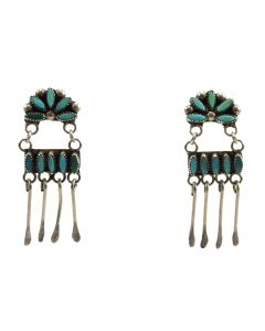 """Zuni Turquoise and Silver Earrings c. 1950s, 1.375"""" x 0.5"""""""