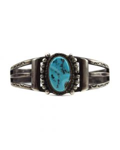 Navajo Turquoise and Silver Bracelet c. 1940s, size 6.5