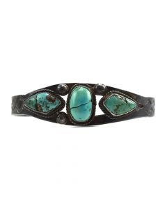 Navajo Turquoise and Silver Bracelet c. 1930s, size 6.5