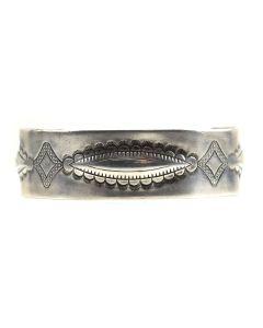 Navajo Silver Bracelet with Stamped Design c. 1920s, size 6.75