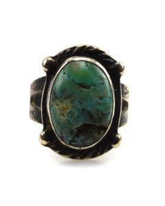 Navajo Turquoise and Silver Ring c. 1930s, size 5.5