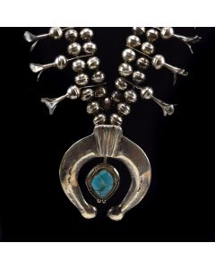 "Navajo Turquoise and Silver Squash Blossom Necklace c. 1960s, 28"" length"
