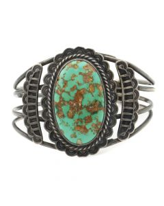 Lot 119 - Navajo Turquoise with Quartz Inclusions and Silver Bracelet with Stamped Design c. 1930s, Size 6.5 (J9759)
