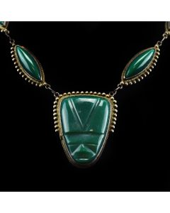 "Mexican Silver Necklace with Carved Aztec Faces in Green Stones c. 1940-50s, 20"" length"