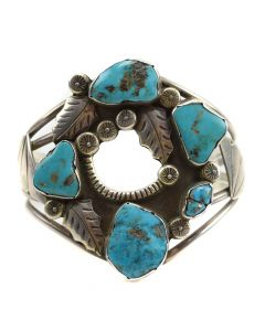 Ramon Platero - Navajo Turquoise and Silver Stamped Bracelet with Feather Designs c. 1950s, size 7.5