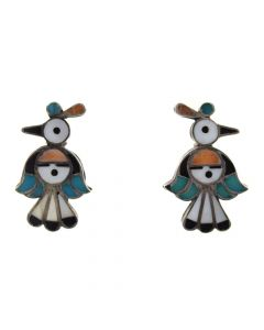 """Zuni Multi-Stone Channel Inlay and Silver Thunderbird Post Earrings c. 1940s, 1.375"""" x 0.875"""""""