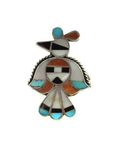 Zuni Multi-Stone Channel Inlay and Silver Ring c. 1940s, size 6.5