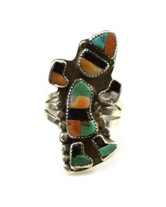 Zuni Multi-Stone Inlay and Silver Rainbow God Ring c. 1940s, size 7.5